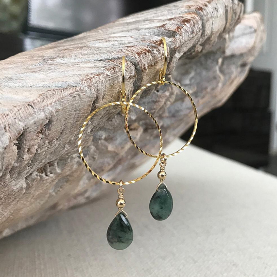 Emerald-Birthstone-Hoop-Drop-Earrings