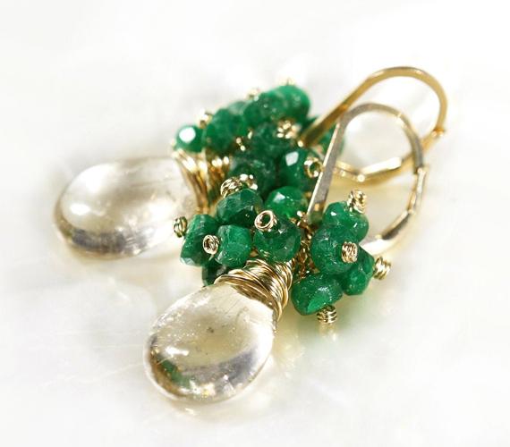 Emerald-Birthstone-and-Quartz-Drop-Earrings