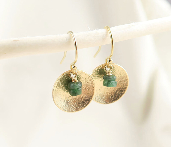 Gold-Disc-Emerald-Birthstone-Earrings