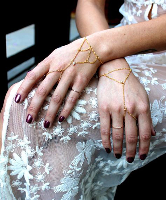 Gold-Triangular-Drop-Hand-Chain-Bracelet