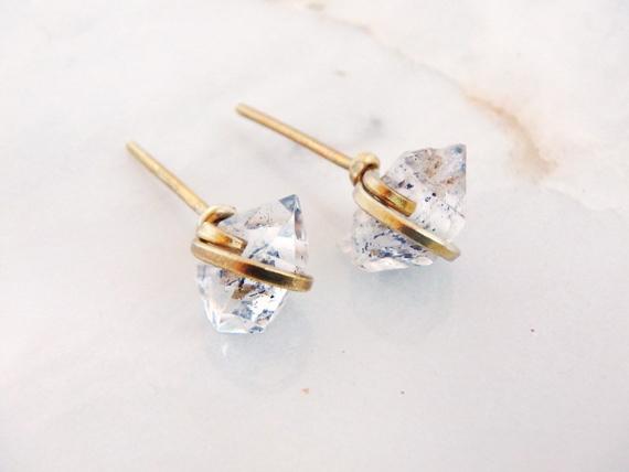 Herkimer-Diamond-Raw-Birthstone-Earrings