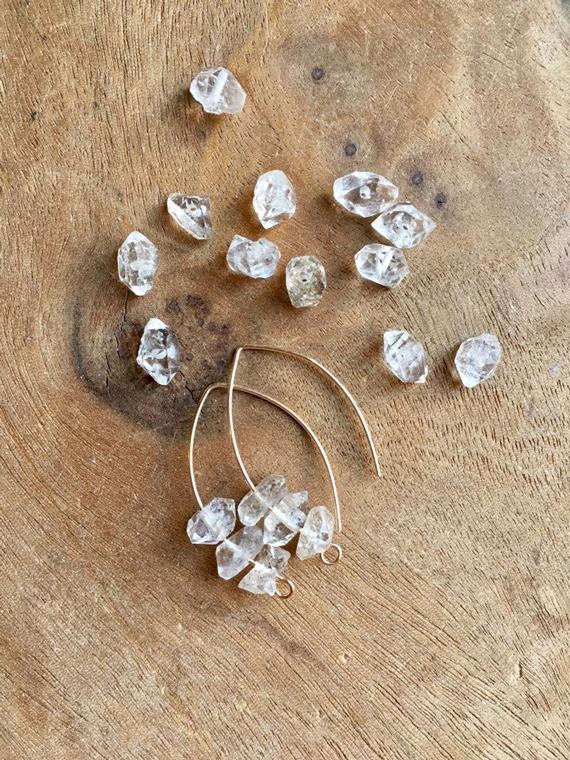 Raw-Cut-Herkimer-Diamond-Birthstone-Earrings