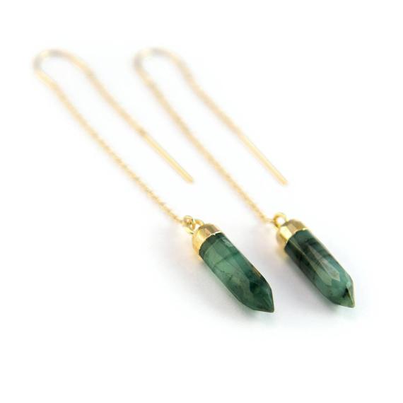 Raw-Emerald-Birthstone-Threader-Earrings