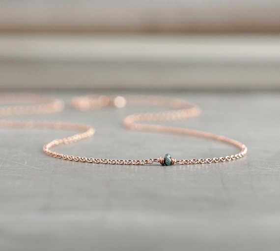 Rose-Gold-Raw-Diamond-Birthstone-Necklace