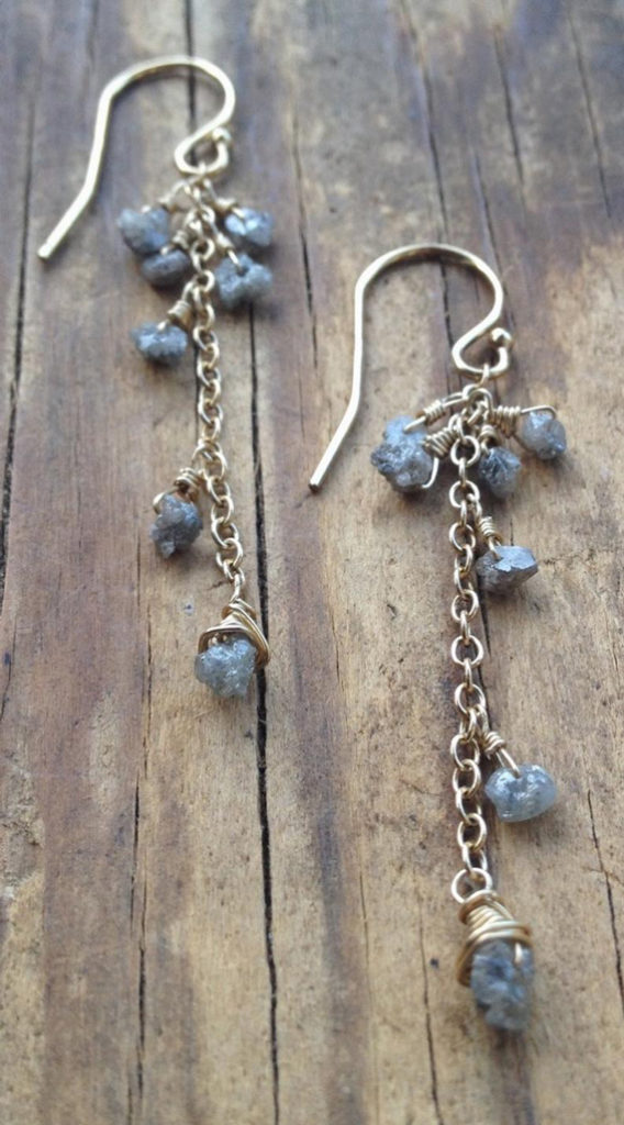 Rough-Diamond-Chain-Dangle-Birthstone-Earrings