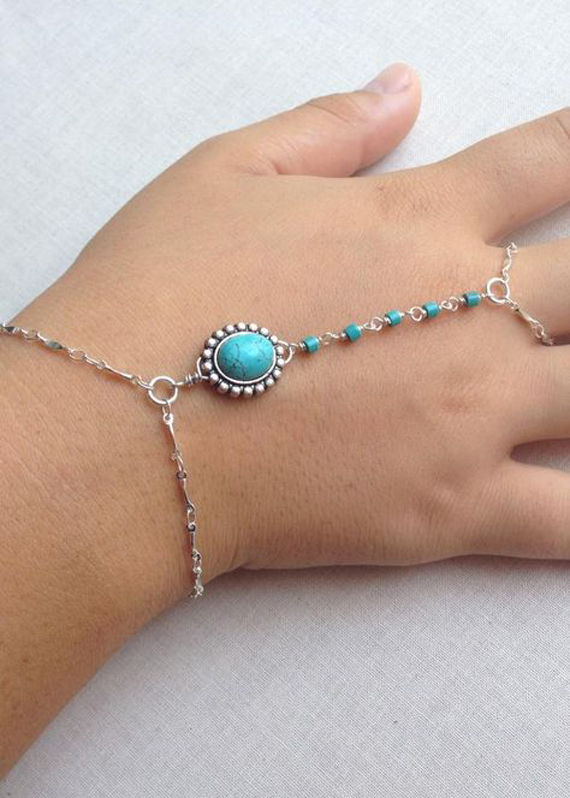 Turquoise-Linked-Hand-Chain-Bracelet