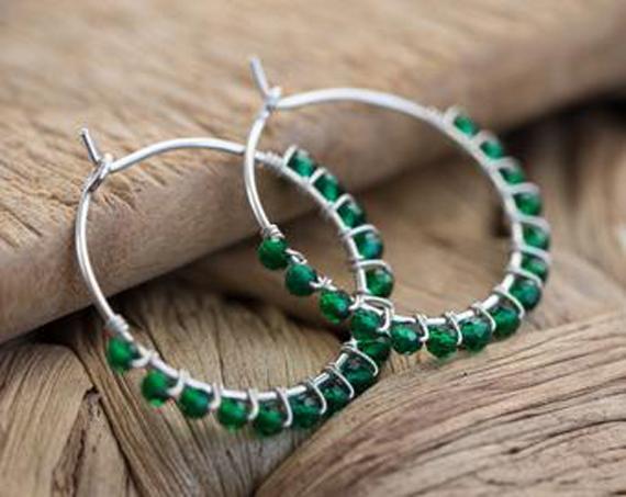 Wire-Wrapped-Emerald-Hoop-Birthstone-Earrings