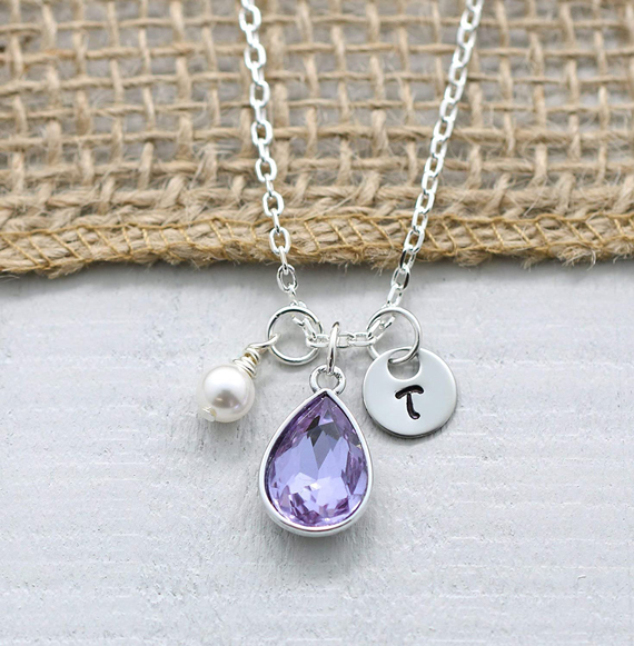 Alexandrite Drop Birthstone Charm Necklace