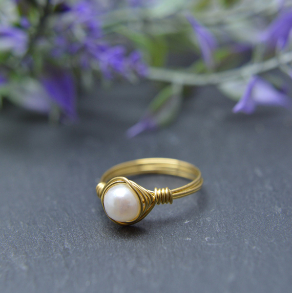 Pearl-Wire-Wrapped-Gemstone-Ring
