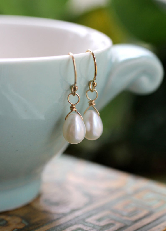 Teardrop-Pearl-Birthstone-Earrings