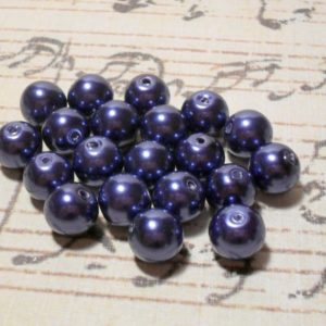 20pc Blue Glass Pearl - 10mm