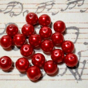 20pc Red Glass Pearl - 10mm