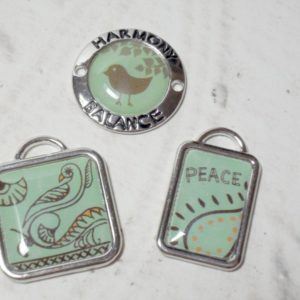 3 Piece Graphical Art Metal Charms - Peace, Balance, Harmony
