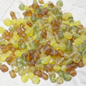 30Grms Brown Green Yellow Glass Bead Mix