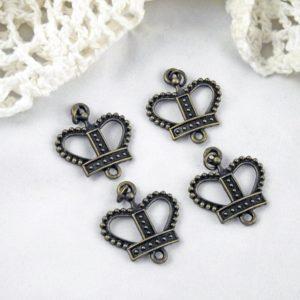 4pc Brass Crown Charm Pendants
