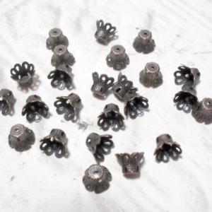 6mm Antique Copper Flower Cup Bead Caps 24 pcs