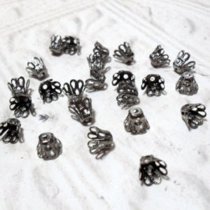 6mm Gunmetal Flower Cup Bead Caps 24 pcs.
