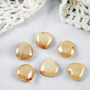 6pc Tan Glass Heart Beads