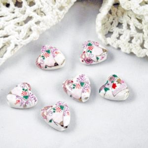 6pc White Heart Porcelain Beads