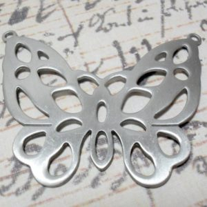 Antique Silver Butterfly Pendant - Double Hole