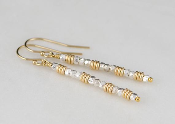 Beaded-Bar-Mixed-Metal-Earrings