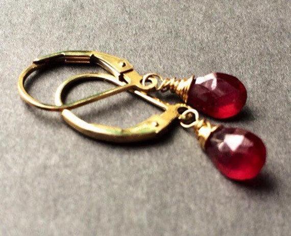 Gold-Ruby-Briolette-Birthstone-Earrings