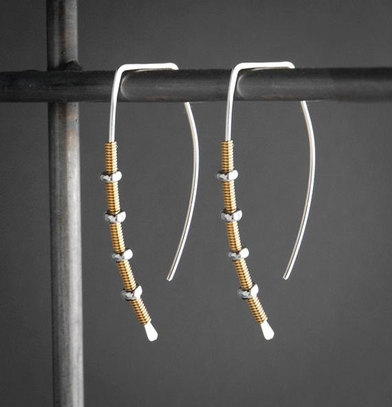 Gold-Silver-Modern-Hoop-Mixed-Metal-Earrings