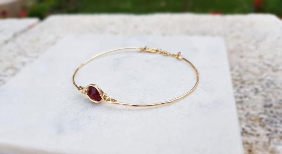 Gold-Wire-Ruby-Birthstone-Bracelet