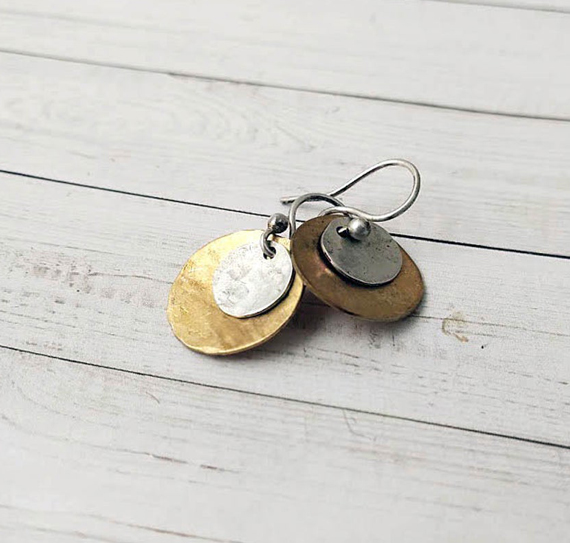 Hammered-Gold-and-Silver-Coin-Earrings