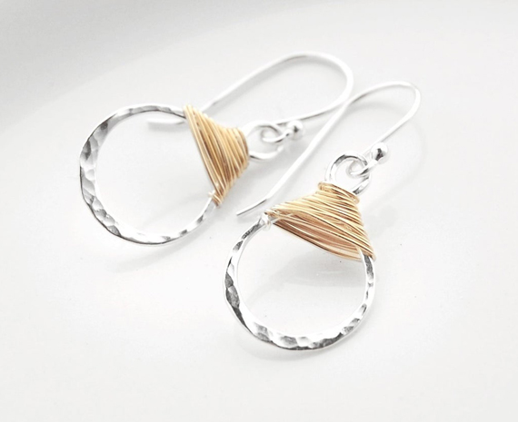 Hammered-Silver-Mixed-Metal-Earrings