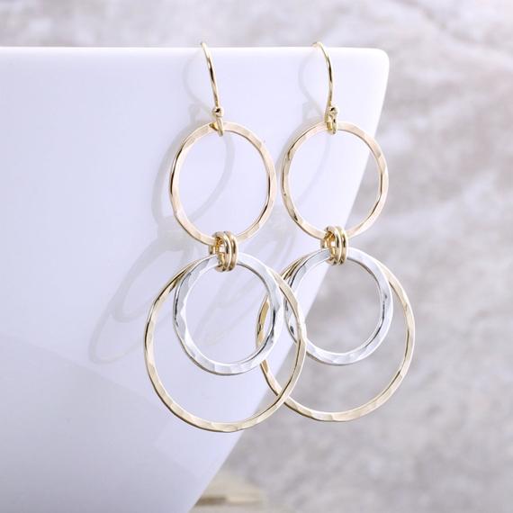 Layered-Rings-Mixed-Metal-Earrings