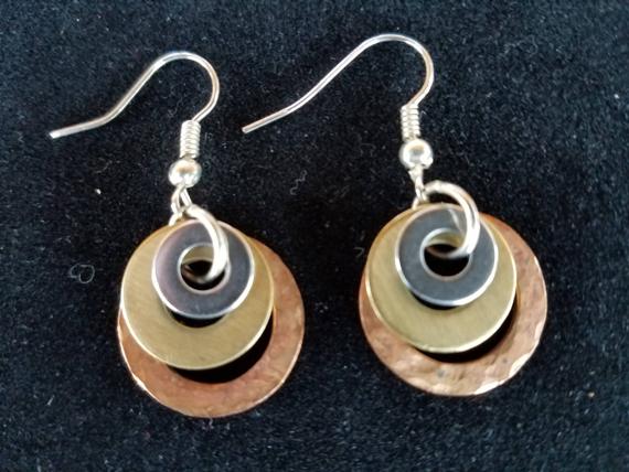 Mixed-Metal-Washer-Earrings