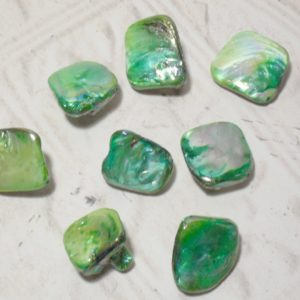 Mother of Pearl Irregular Diamond Shell Beads - Green