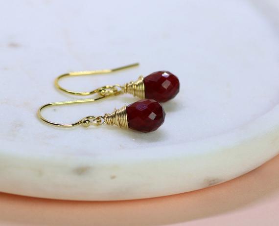 Ruby-Birthstone-Briolette-Drop-Wire-Wrapped-Earrings