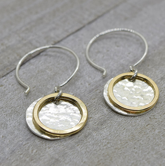Silver-Coin-Gold-Ring-Mixed-Metal-Earrings