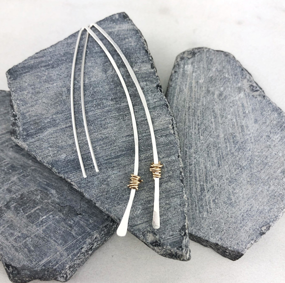 Silver-Hammered-Mixed-Metal-Threader-Earrings