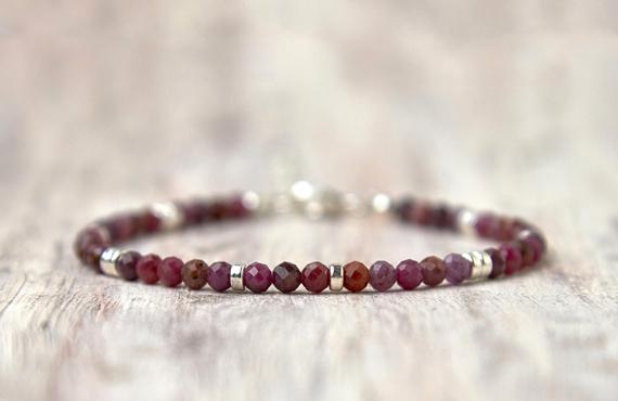 Silver-and-Ruby-Gemstone-Birthstone-Bracelet