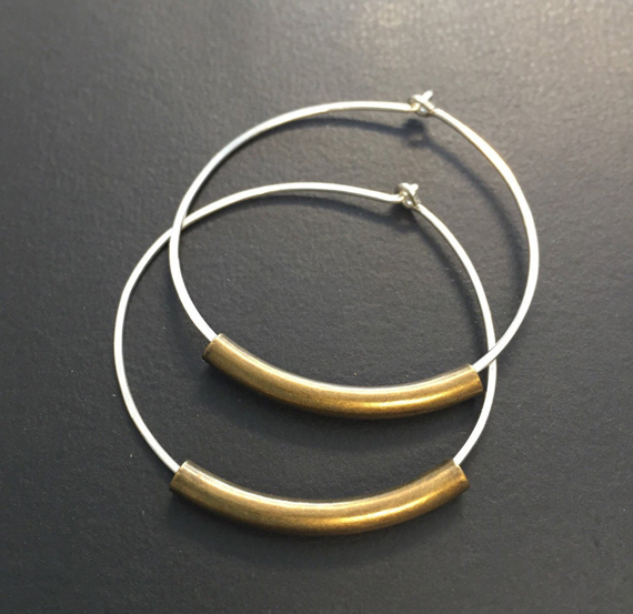 Sterling-Silver-Mixed-Metal-Hoop-Earrings