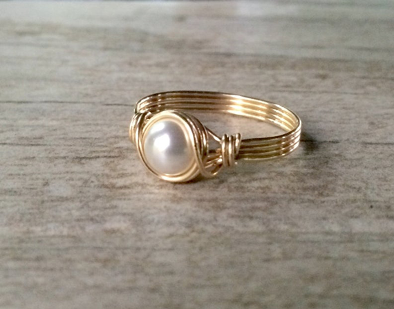 Gold-Wire-Birthstone-Pearl-Ring