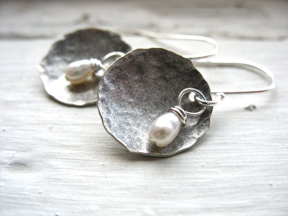 Hammered-Dome-Pearl-Earrings