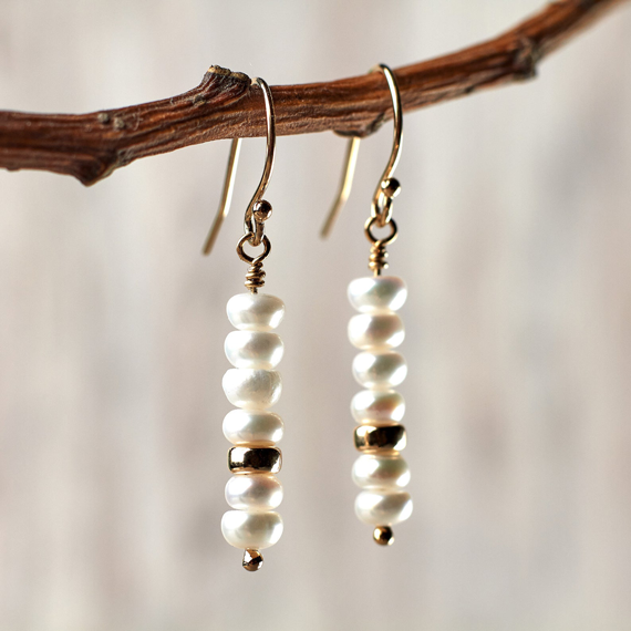 Natural-Pearl-Stacked-Birthstone-Earrings