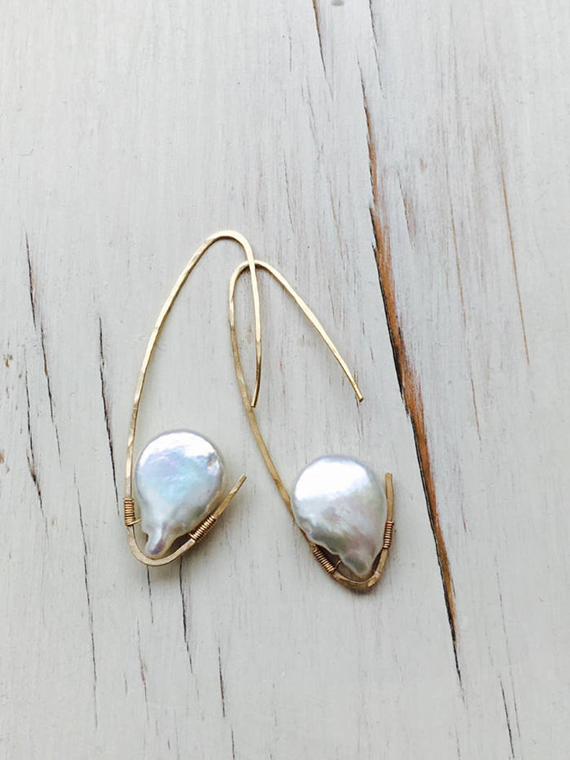 Oblong-Wire-Wrapped-Pearl-Birthstone-Earrings