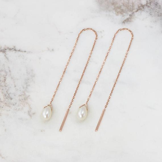 Pearl-Birthstone-Threader-Earrings