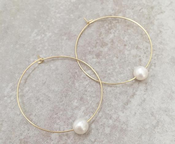 Pearl-Gold-Hoop-Earrings