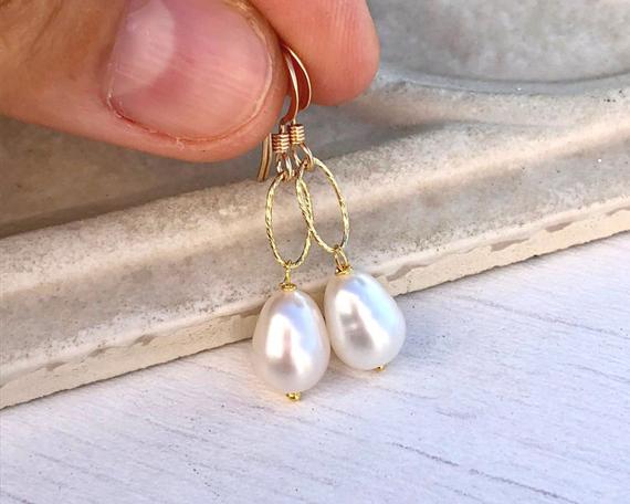 White-Birthstone-Pearl-Drop-Earrings