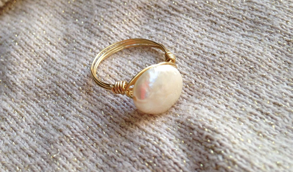Wire-Wrapped-Pearl-Coin-Birthstone-Ring