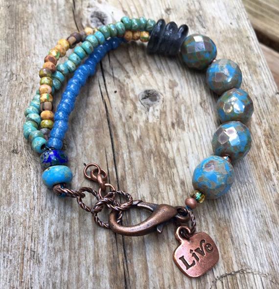 Blue-Beaded-Chunky-Bracelet