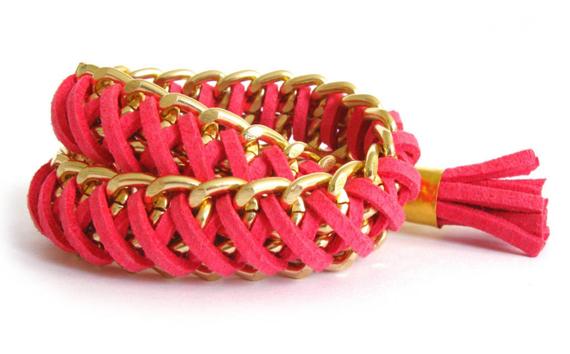 Gold-Chain-Leather-Wrap-Chunky-Bracelet