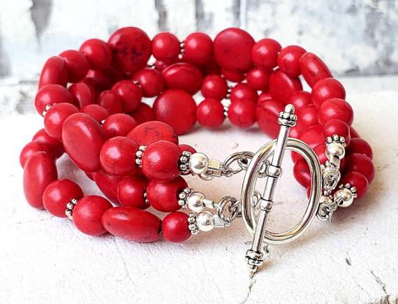 Multi-Strand-Red-Chunky-Bracelet