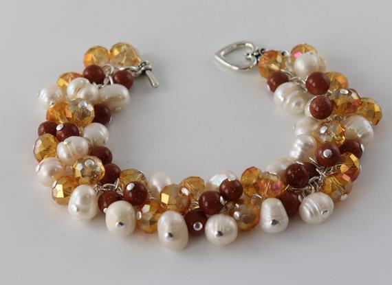 Pearl-Amber-Cluster-Chunky-Bracelet